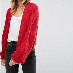 Oversized ASOS red knit cardigan so comfy+cute!!